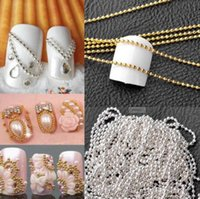 metallkugelkettenketten großhandel-100cm Nail Art Metall Kette Gold Silber Bead Micro Nagel Linie Acryl Tipps DIY Dekoration Glitter Striping Ball