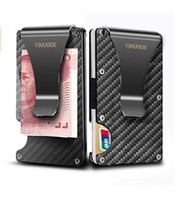 Wholesale rfid business cards - Black Carbon Fiber Money Clip, 2018 New Upgrade Version RFID Blocking Wallet, Slim Design Credit Card Business Card ID Holder for Men