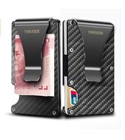 ingrosso disegno del biglietto da visita-Fermasoldi in fibra di carbonio nera, 2018 nuova versione di aggiornamento Portafoglio di blocco RFID, porta carte di credito design sottile per carte di credito da uomo