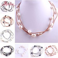 """Wholesale Freshwater Lobsters - whole sale3row 10-12mm Oval Freshwater Pearl Natural Stone Beads Fashion Style Leather Necklace 16"""" Lobster Clasp 1 Pcs Free Shipping"""