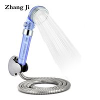 Wholesale panel bath - New arrival blue plastic shower set ABS pressure boost bath rain head Stainless steel spray panel water saver shower sets ZJ028