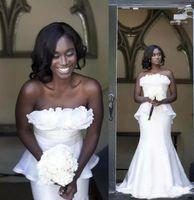 Wholesale strapless ruffle organza mermaid wedding dress resale online - Sexy Mermaid African Black Girls Wedding Dresses Strapless Ruffles Peplum Sleeveless Vestidos Zipper Bridal Gowns Sweep Train