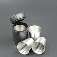 Wholesale Travel Mugs Wholesale China - 4pcs set mini 30ml Portable Stainless Steel Wine Cups Drinking Liquor Alcohol Whisky Vodka Bottle Mug Travel Barware Accessories fast