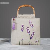 ingrosso negozi di lavanda-Sacchetto originale della borsa della spiaggia di festival della borsa del sacchetto della borsa delle donne della borsa del rattan di lino di stile rurale fresco della lavanda del ricamo originale