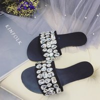 Wholesale Soles Shoe Slip Resistant - fashion flat crystal sandals rhinestone bling slippers shiny slingback slippers soft sole slip resistant sandals slips casual shoes