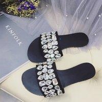 Wholesale Women Shiny Flat Shoes - fashion flat crystal sandals rhinestone bling slippers shiny slingback slippers soft sole slip resistant sandals slips casual shoes