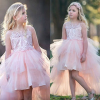 Wholesale toddlers high low pageant dresses - Beautiful Tier Skirt High Low Pink Flower Girl Dresses 2018 Crew Neck Sheer Straps Appliques Sequins Toddler Kids Formal Pageant Gowns