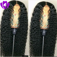 Wholesale celebrity wig online - Celebrity style Density kinky curly Synthetic Lace Front Wig Heat Resistant Fiber Long Loose Curly Wigs For black Women