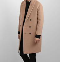 moda callejera coreana para hombres al por mayor-S-XXXL 2018 hombres de invierno de Corea delgada gabardina de cachemira en la capa larga de lana calle moda hombres de lana gruesa