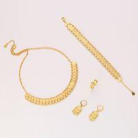 pulseiras de ouro do oriente médio venda por atacado-New Classic Conjuntos de Jóias Árabe Coin Gold Necklace Necklace Bracelet Bracelet Ring Oriente Médio muçulmano Coin Acessórios