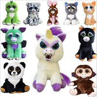 Wholesale Genuine Videos - Genuine Change face Feisty Pets 19 style Animals Plush toys cartoon monkey Stuffed Animals for baby Christmas gifts
