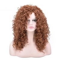 kıvırcık afro saç ürünleri toptan satış-Siyah kadınlar için ZF afro peruk kadınlar için 20 inç kahverengi renk moda kıvırcık saç ürünleri