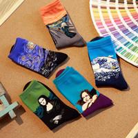 serin sanat baskılar toptan satış-10 adet = 5 çift / grup Moda Sanat Pamuk Ekip erkekler mutlu Çorap 3d baskı Karakter Desen Erkek Harajuku marka elbise yenilik serin sox