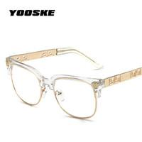 Wholesale vintage optic glass - YOOSKE Fashion Clear Sunglasses Women Men Optics Prescription Spectacles Frames Vintage Plain Glass Eyewear Women Brand Designer