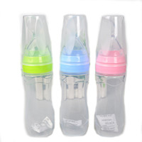 Wholesale types silicone paste - Circle Nail Clip Baby Care Feeding Bottle Silicone Extrusion Type Feeding Infant Kids Spoon Rice Paste Feeding Bottle Circle