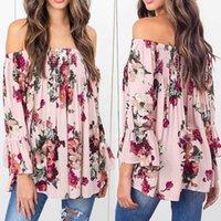 blusa rosa do ombro venda por atacado-Sexy Casual Mulheres Floral Imprimir Tops Off Shoulder Flare Camisa Manga Blusa Rosa