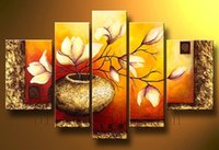 Wholesale flowers pieces arts painting pictures resale online - hand painted oil wall modern art oil painting piece painting abstrac flower wall art decorative painitng home décor unique gifts