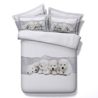 reina cama de los niños al por mayor-3D ropa de cama adorable juegos de fundas nórdicas para perros cachorros colchas edredón blanco ropa de cama edredón cubre fundas de cama de plata para niños