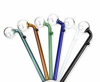 cuchara de mano larga al por mayor-14 cm de aceite quemador de vidrio pipas de fumar Tubo largo de mano Heady Pipe Mini colorido pirex de cuchara pipa de fumar accesorios SW01