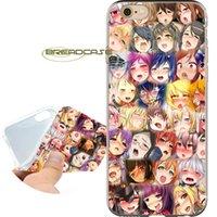 kızlar iphone cases 5s 5c toptan satış-Coque Ahegao Anime Kız Kılıfları iPhone için 10 X 7 8 6S 6 Artı 5S 5 SE 5C 4S 4 iPod Touch 6 5 Şeffaf Yumuşak TPU Silikon Kapak.