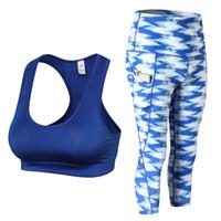 yoga pantolon iç çamaşırı toptan satış-Oleoey 2 adet yoga setleri kadın underwear set fitness spor sutyen + baskılı yoga pantolon tayt set gym egzersiz seksi spor giymek