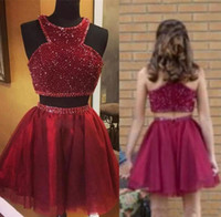 Wholesale pink cocktail dresses for juniors - Glamorous Dark Red Two Pieces Homecoming Dresses 2018 Heavy Beadings A Line Halter Neck Mini Short Cocktail Graduation Gowns for Juniors