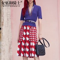 Wholesale knitted fashionable clothing online - New Women s Clothing Summer Blue Small Fragrance Knitted Suits Fashionable Printed Suits Slim Skirts Two Sets