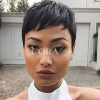 Wholesale best human hair half wigs resale online - Half Price Lace cut Short bob human hair wigs with bangs inch Brazilian for african americans Best brazilian hair wigs