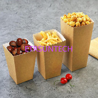 Wholesale fries cup for sale - Group buy Disposable Kraft Paper Popcorn Cup Snack Paper Box Fries Box Solid Fast Food Thick Container Cinema Package Cup QW7704