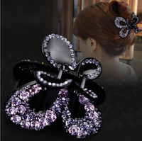 Wholesale purple butterfly hair accessories resale online - Butterfly Hair Claw Swarovski hair accessories Purple Clamps Fashion Barrettes luxurious Full Crystal Czech stone Mother Day Valentine Gift