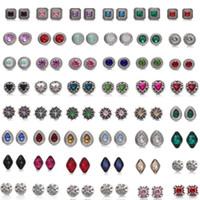 12 mm kristal anahtarı düğmesi toptan satış-Karışık stilleri NOOSA Topakları 12mm Kristal Snap Düğmesi Takı Kare Küp Üçgen Rhinestone Snap Düğmesi DIY Topakları Bilezik Yüzük Parti Hediye