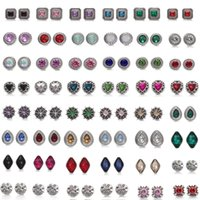 Wholesale european rhinestone cube - Mixed styles NOOSA Chunks 12mm Crystal Snap Button Jewelry Square Cube Triangle Rhinestone Snap Button DIY Chunks Bracelet Ring Party Gift