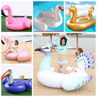 Wholesale giant toy online - Flamingo inflatable swimming rings Giant Pool Float Swim Ring Flamingo peacock Pool Inflatable Toys party float Swim Ring KKA5122