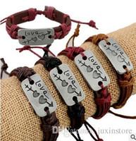 ingrosso bracciale doppio in pelle per gli uomini-Nuovi amanti Bracciale Charm Double Heart Love Bracciale in pelle Fashion Cheap Couple Jewelry For Men and Women
