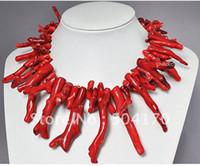 coral rojo africano cuentas naturales al por mayor-Raras Collar de Coral Rojo Natural de 18 Pulgadas Traje Africano Coral Beads Joyería 5 Colores Envío Gratis CN004