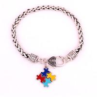 bracelets d'autisme achat en gros de-Mode Autism Awareness Puzzle Puzzle Classique Plaqué Argent Carré Émail De Charme Bracelet De Griffe De Homard Commerce Assurance Service