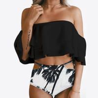 bando ücretsiz gönderim toptan satış-Toptan 2018 Yüksek Bel Mayo Seksi Bikini Kadın Mayo Fırfır Vintage Bandeau Çizgili Alt Bikini Set Mayo Ücretsiz kargo