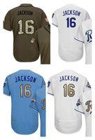 royals jerseys 2018 - Mens 16 Bo Jackson Baseball Jersey Light Blue Royal White Grey Gray Green Salute Players Weekend All Star Team Logo Memorial Day