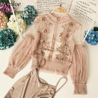 плюс размер длинный рукав кружевные вершины оптовых-Neploe плюс размер Blusa блузка корейский кружева блузки цветочные крючком марлевые женщины рубашка с длинным рукавом перспективный 2 шт. набор топ 34788