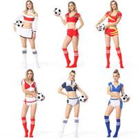ingrosso cheerleader sexy del costume della donna-Donna Calcio Gioco Cheerleader Outfit Sexy Francia Portogallo Spagna Inghilterra Germania Germania Costume ragazza Football Uniforme da acclamazione