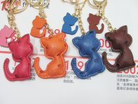 Wholesale cat cartoon man boy for sale - Group buy Fashion Key Chain PU Leather Cute Cat cartoon Key Rings Car Keychains women ladies Bag Backpack Chain pendant Charm Jewelry Gift Accessories