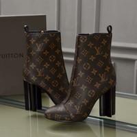ingrosso tacchi di colore marrone-tacchi alti da donna moda scarpe marrone stampa caviglia Stivali impermeabili in vera pelle colore puro