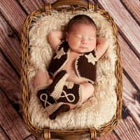 Wholesale Cowgirl Winter Boots - New Baby Boys Crochet Photo Prop Cowboy Cowgirl Set Knitted Boots Vest Outfit
