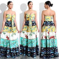Wholesale Holiday Party Tops - Beach Holiday Dresses Fashion floral print Women Crop Top Midi Skirt Set boho Two Pieces Dresses Sexy slash neck club party dress