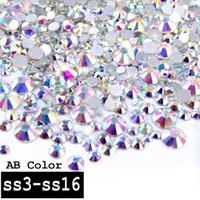 sırt kristalleri ss16 toptan satış-1 Paket Kristal AB Renk Karışık (SS3-SS16) Cam Nail Art Rhinestones Taşlar Olmayan Hix Flatback 3d Tırnak Takı Dekorasyon Araçları