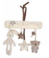 руки свободные кролик оптовых-Кролик ребенок висит кровать безопасности сиденья плюшевые игрушки колокольчик многофункциональный плюшевые игрушки коляска мобильные подарки бесплатная доставка B0089