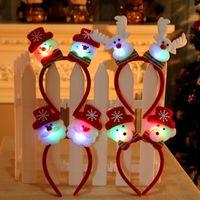 Wholesale reindeer head decoration resale online - 2018 Xmas Decoration Red Double Head Lovely Christmas Santa Reindeer Snowman Bear LED Light Headband Hair Band Lightening