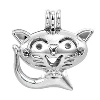 Wholesale Cat Locket - Pearl cage necklace pendant, essential oil diffuser, cute cat provides silver-plated 10pc - plus your own pearl makes it more attractive