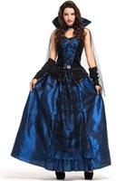 hofkleid cosplay großhandel-2018 neue sexy court dress blau zauberin luxus frauen kleider cosplay halloween kostüme uniform versuchung party clothing heißer verkauf