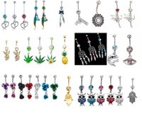 Wholesale black diamond bar - Multi style Rhinestones Long Tassel Green Maple Leaf Navel Piercing Belly Button Ring Chaims Bar Party Body Piercing Jewelry